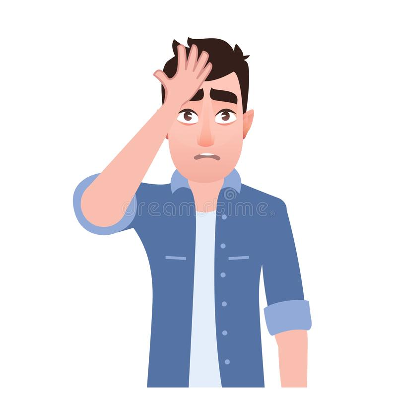 Man surprised head for mistake. Remember error. Bad memory, forgot. Isolated character. Emotion and body gestures language illustration in cartoon style royalty free illustration