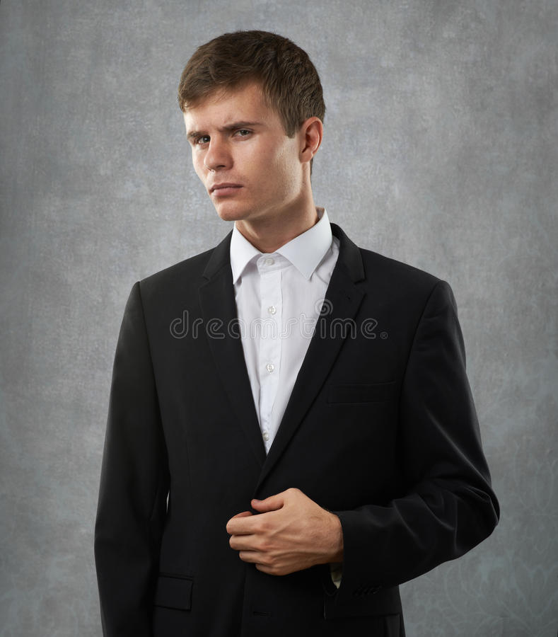 Man is suspect and distrust. Suspect and distrust man is look closely at someone stock photography