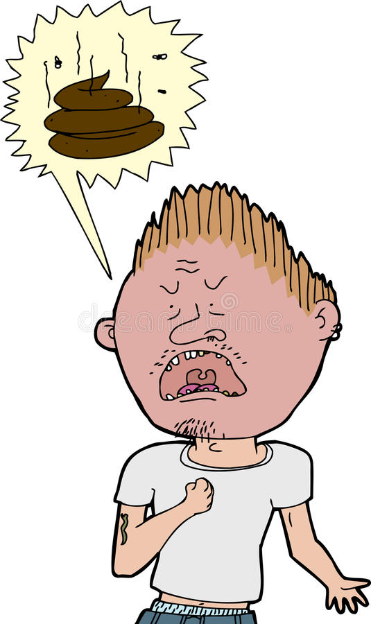 Man Swearing. Isolated angry tough man screaming obscene words vector illustration