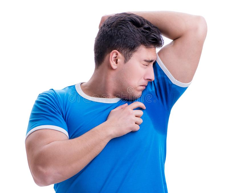 Man sweating excessively smelling bad isolated on white backgrou stock photo