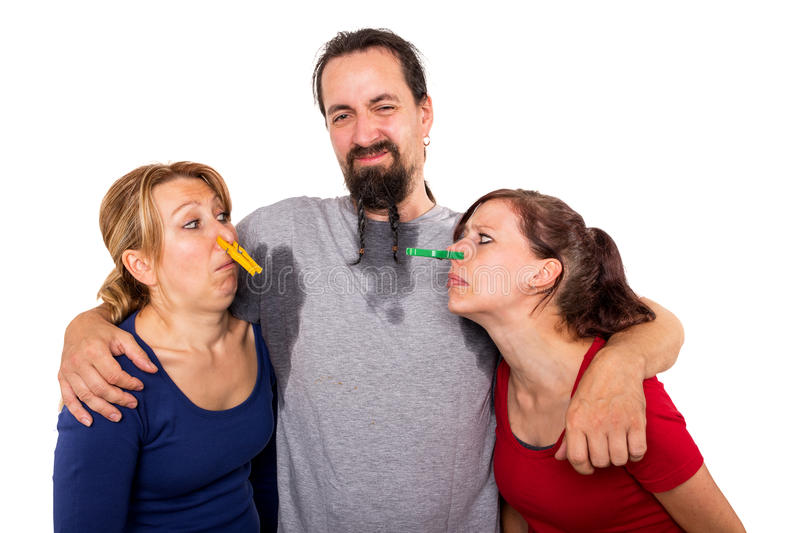 Man sweats and women do not want to smell it stock images