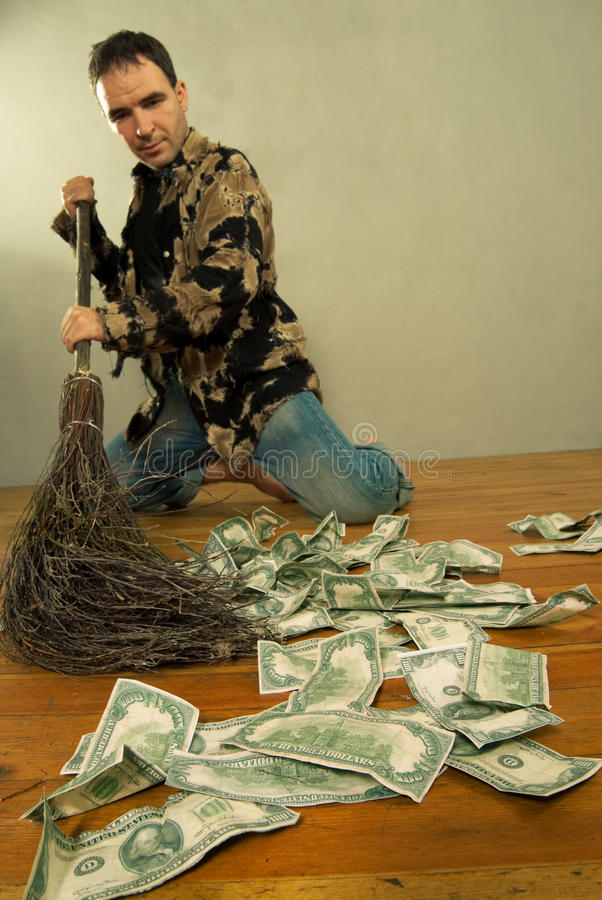 Download Man Sweeping Dollar Banknotes Stock Image - Image of depreciate, funny: 19150387