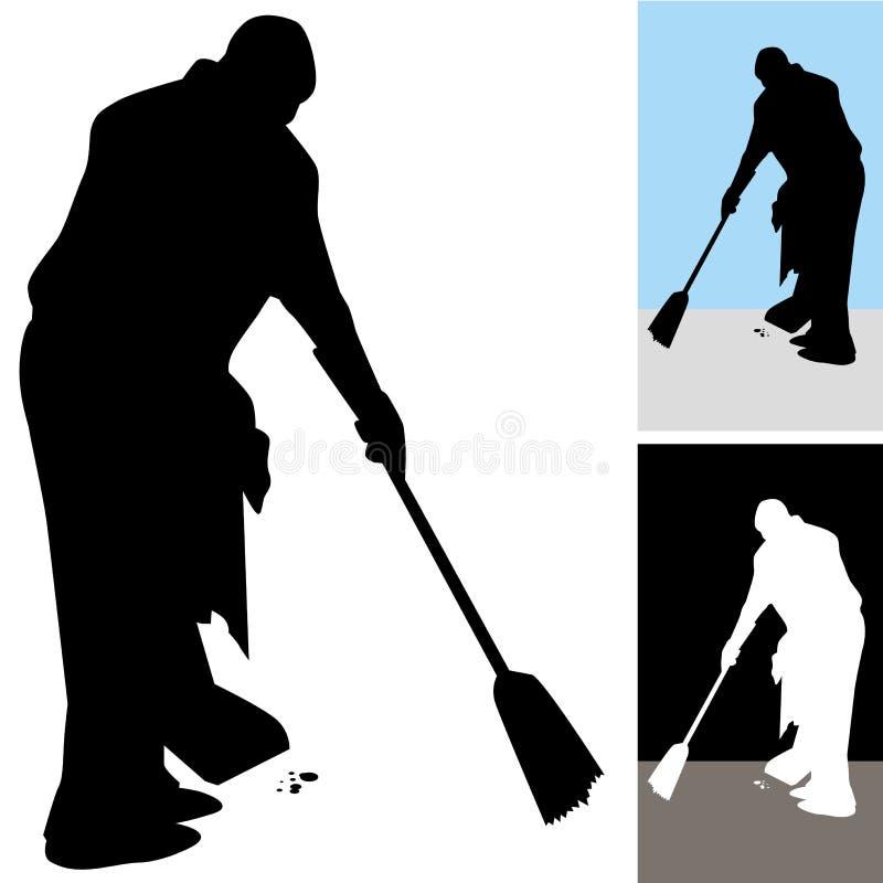 Man Sweeping Floors