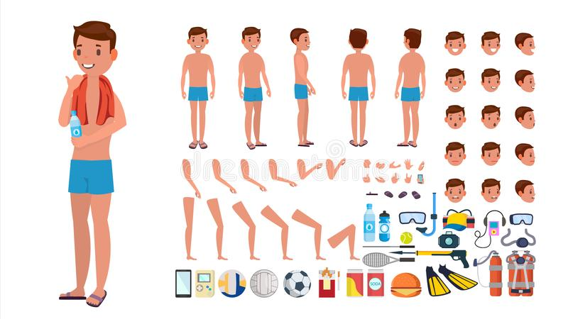 Man In Swimsuit Vector. Animated Male Character In Swimming Trunks. Summer Beach Creation Set. Full Length, Front, Side. Back View. Isolated Flat Cartoon royalty free illustration