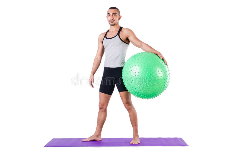 Download Man With Swiss Ball Doing Exercises Stock Image - Image: 30835337