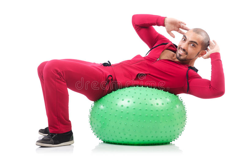 Download Man with swiss ball stock image. Image of muscular, background - 33346439