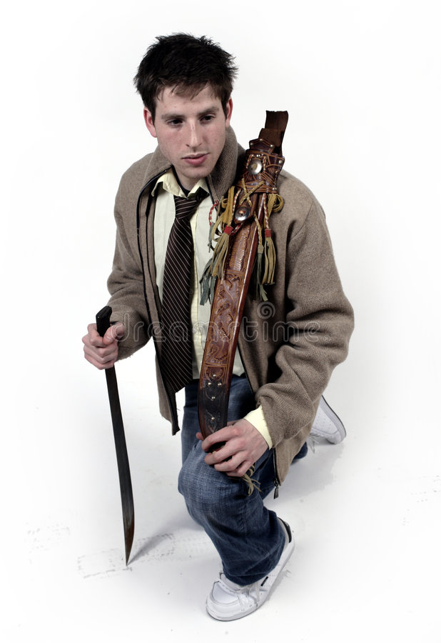Man with sword royalty free stock photography