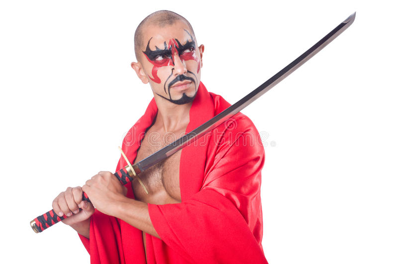 Man with sword. Isolated on white stock photos