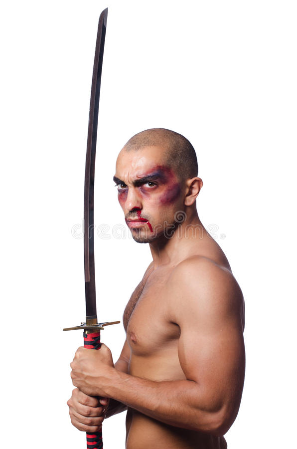 Man with sword isolated. On white stock photos