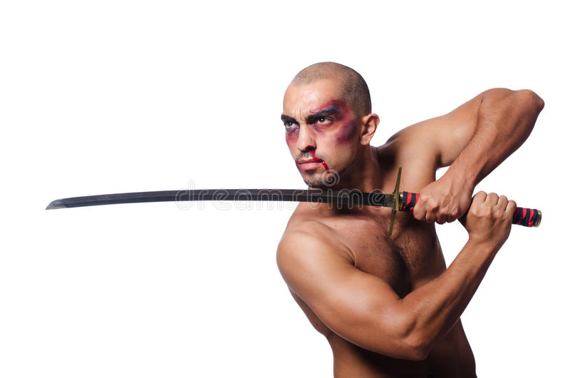 Man with sword isolated. On white stock images