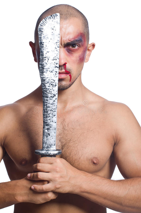 Man with sword isolated. On white stock photography