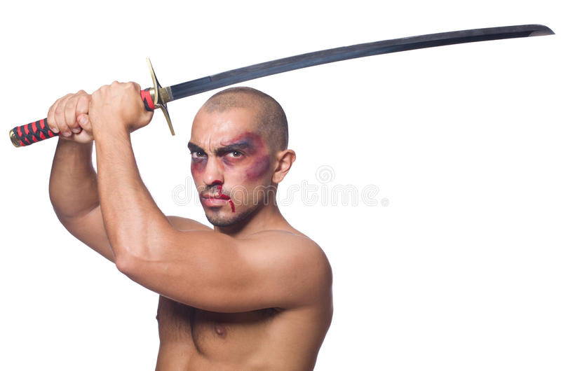 Man with sword isolated. On white stock image