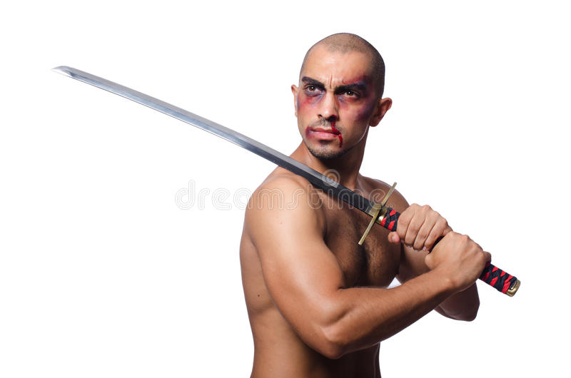 Man with sword. Isolated on white royalty free stock photo