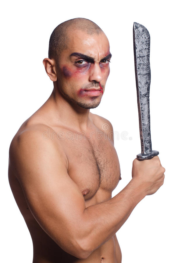 Man with sword isolated. On white stock photo