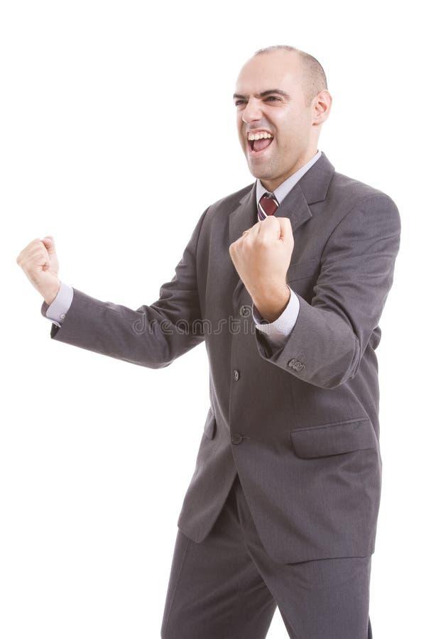 Man symbolizing victory. On a white background stock photos