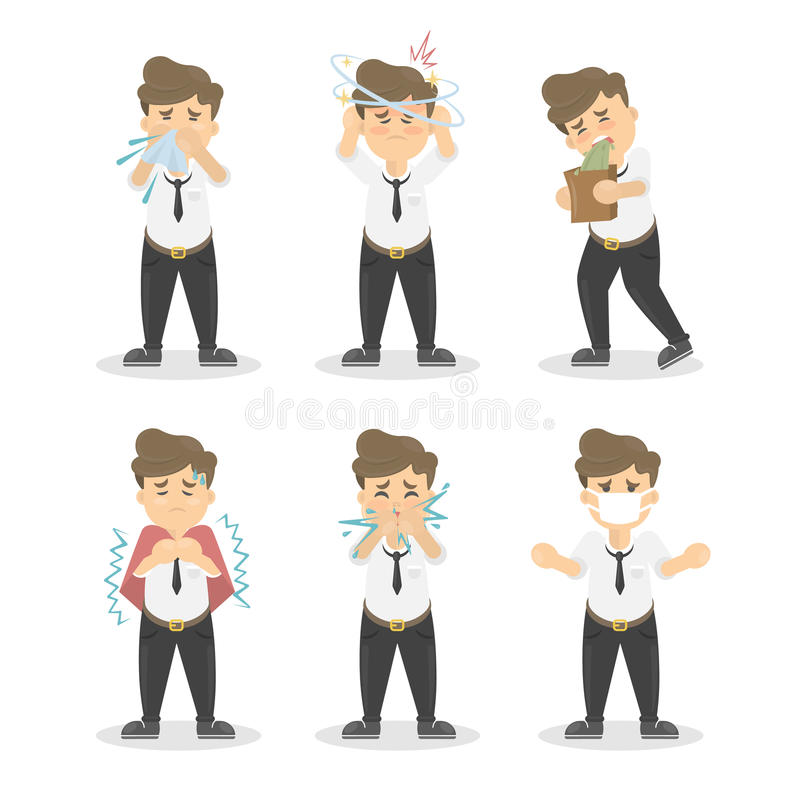 Man with symptoms set. Man with symptoms set on white background. Cold, vomiting, headache and more royalty free illustration