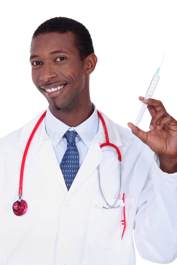 Man With Syringe In Hand Royalty Free Stock Photo