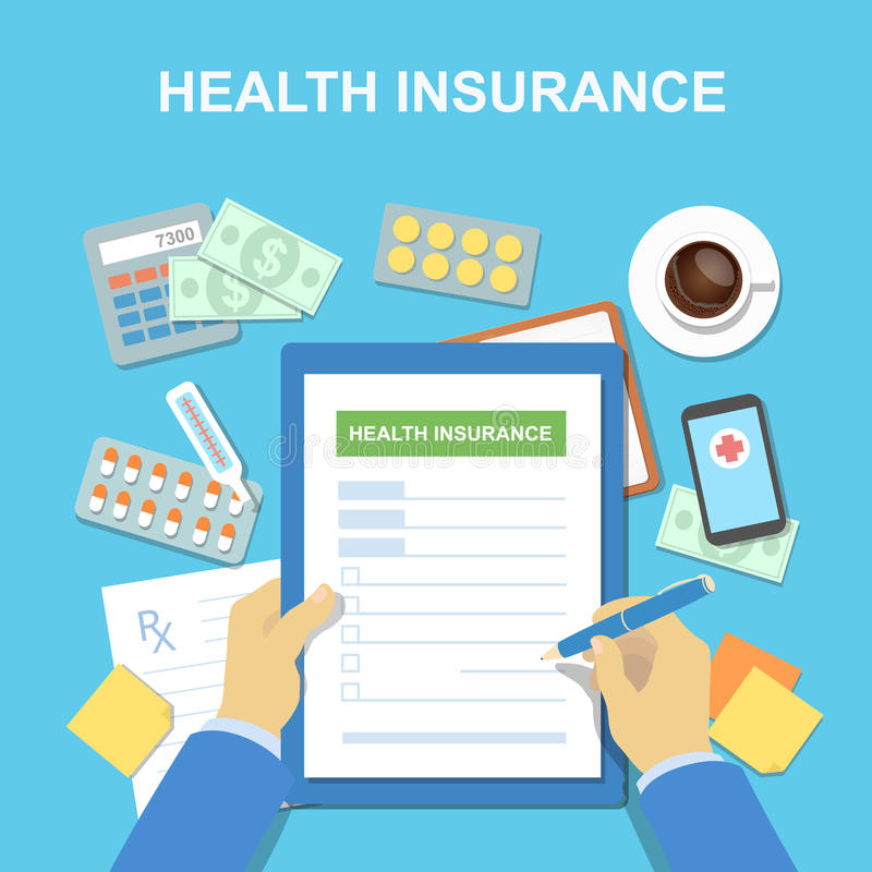 Man at the table fills in the form of health insurance. Healthcare concept. Vector illustration. With medical equipment, money flat design style vector illustration