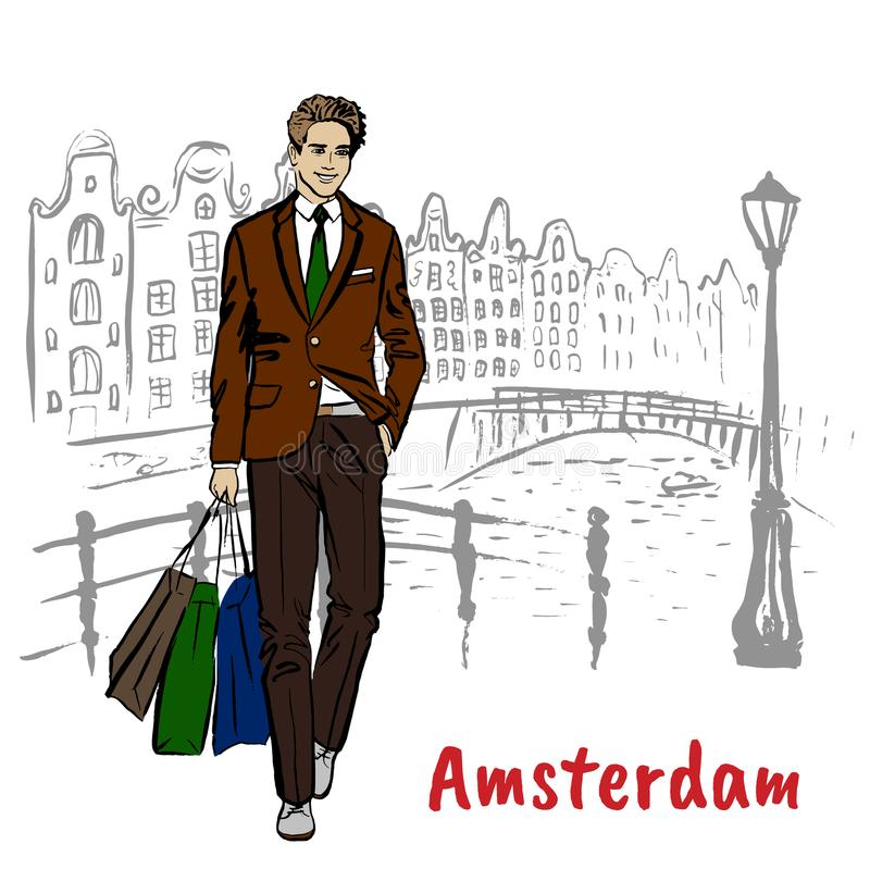 Man with tablet in Amsterdam. Young man with shopping bags in Amsterdam, Netherlands stock illustration