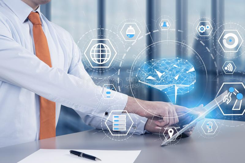 Man with tablet in office, AI interface stock illustration