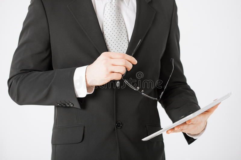 Download Man With Tablet Pc And Eyeglasses Stock Photo - Image: 32284604