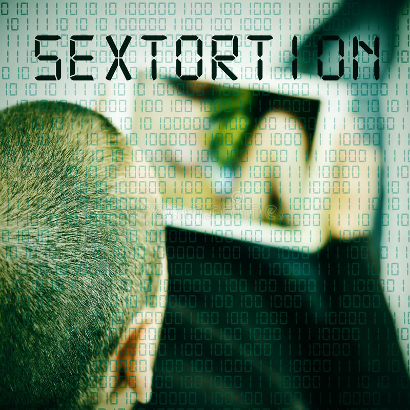 Man with tablet and text sextortion royalty free stock photography