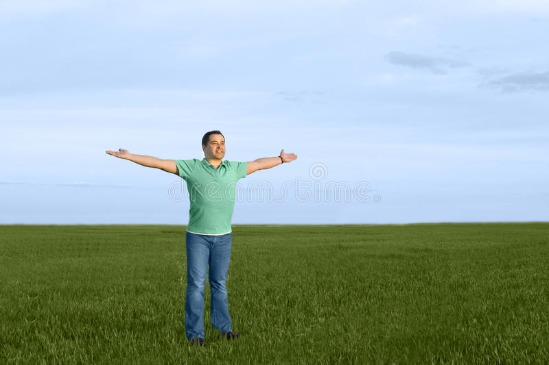 Man Take Energy From Nature Stock Photo