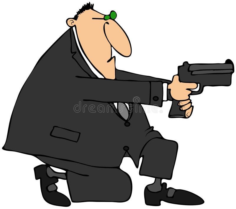 Download Man taking aim with a gun stock illustration. Image of illustration - 28954840