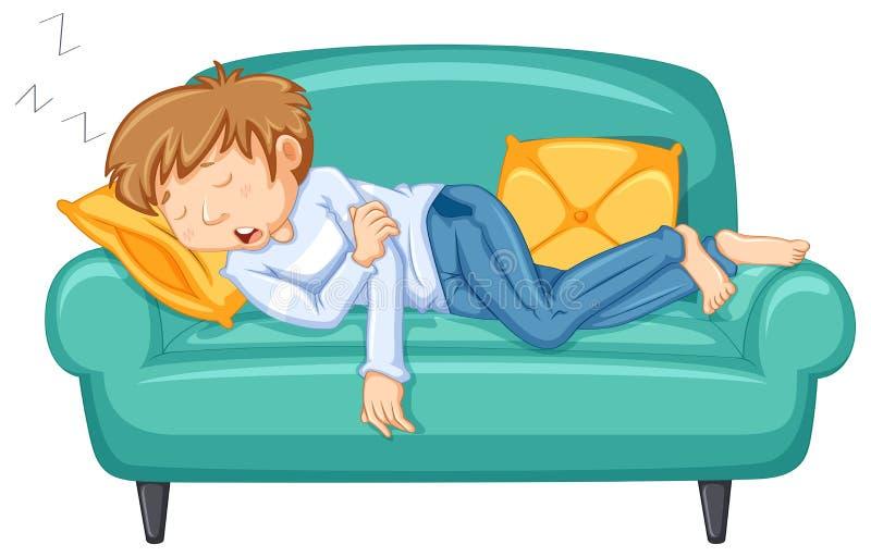 Man taking nap on big sofa. Illustration royalty free illustration