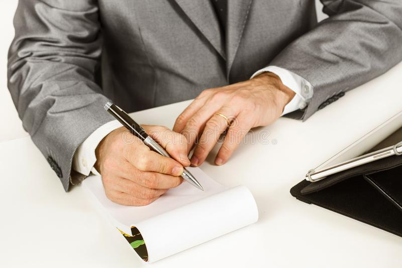 Man working with papers royalty free stock photography