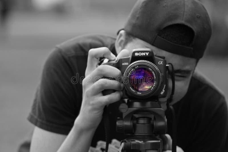 Man taking photo stock photos