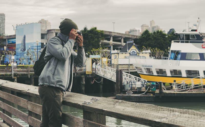 A man taking photos stock photography