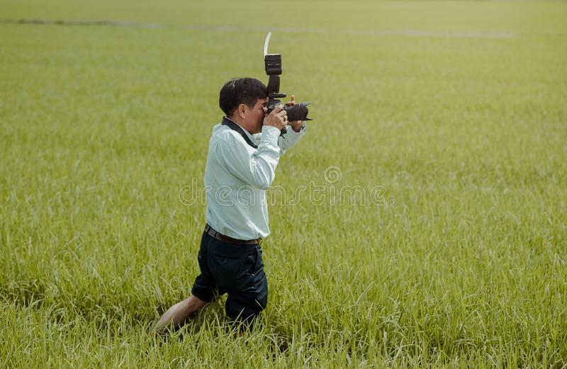 Man Taking Photos in the Field royalty free stock image