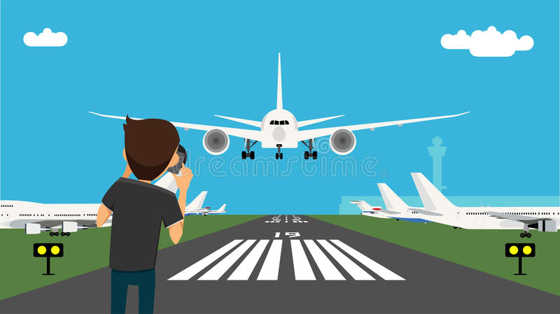 Man taking picture of the glide path and landing plane using professional camera. royalty free illustration