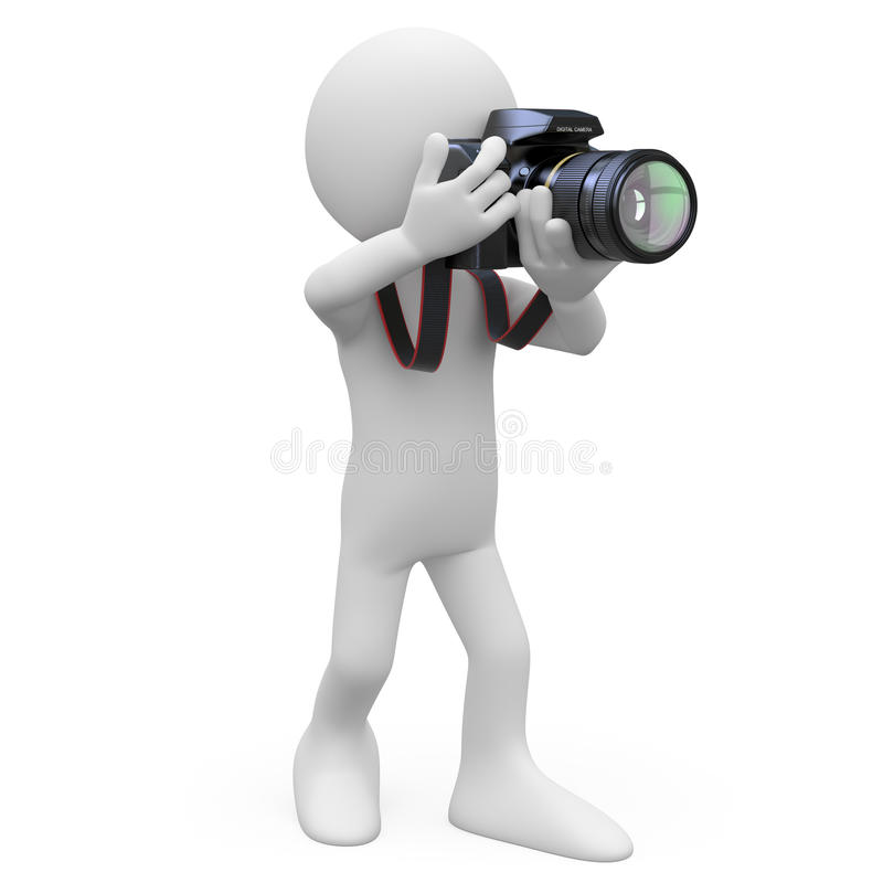 Man taking a picture with his SLR camera stock illustration