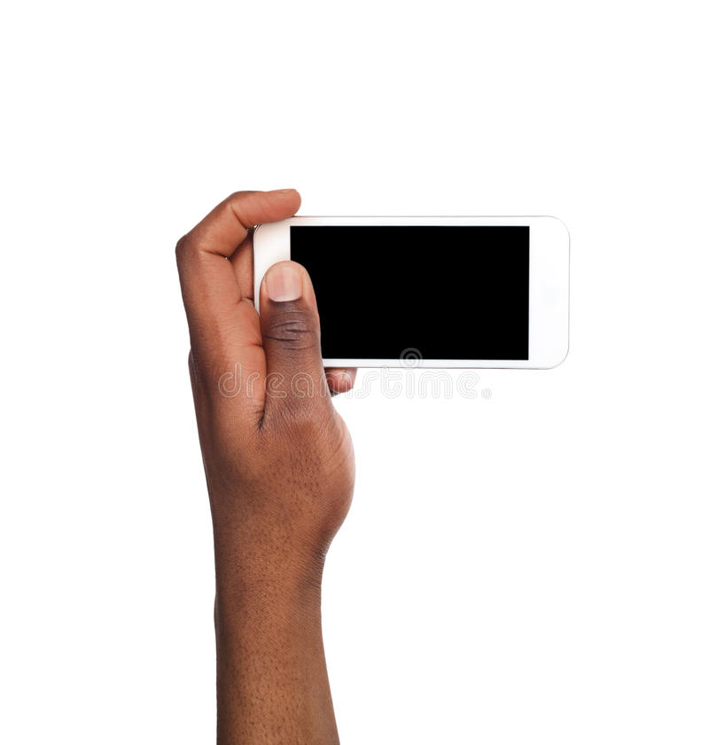 Man taking picture using smart phone. Black hand holding smartphone and shooting photo, isolated on white royalty free stock photos