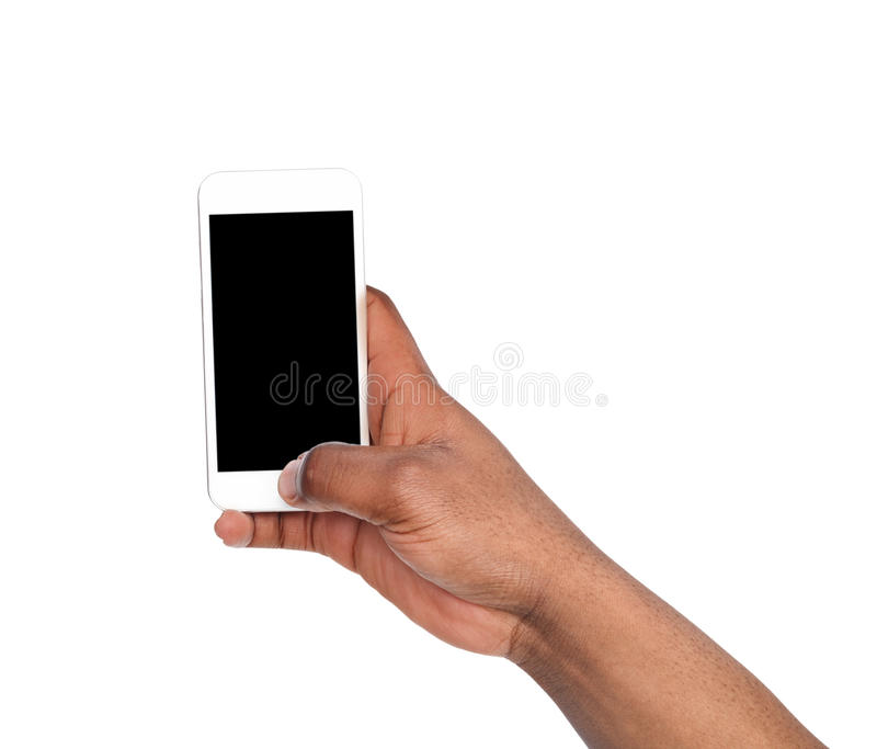 Man taking picture using smart phone. Black hand holding smartphone and shooting photo, isolated on white royalty free stock photo