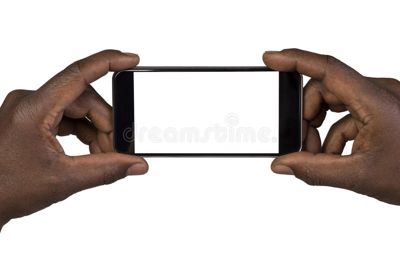 Man taking a picture using a smart phone. Isolated on white stock photo