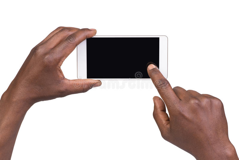 Man taking a picture using a smart phone. Isolated on white royalty free stock photography