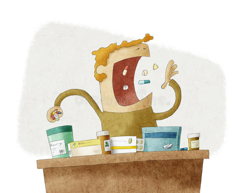 Man taking a pile of different pills royalty free illustration
