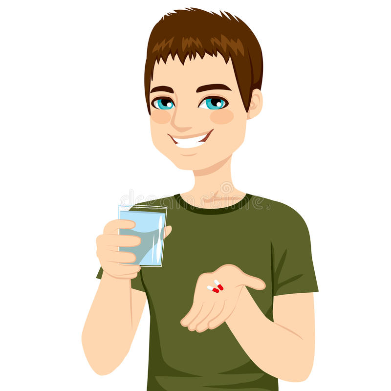 Man Taking Pills. Young attractive man taking pills with glass of water royalty free illustration