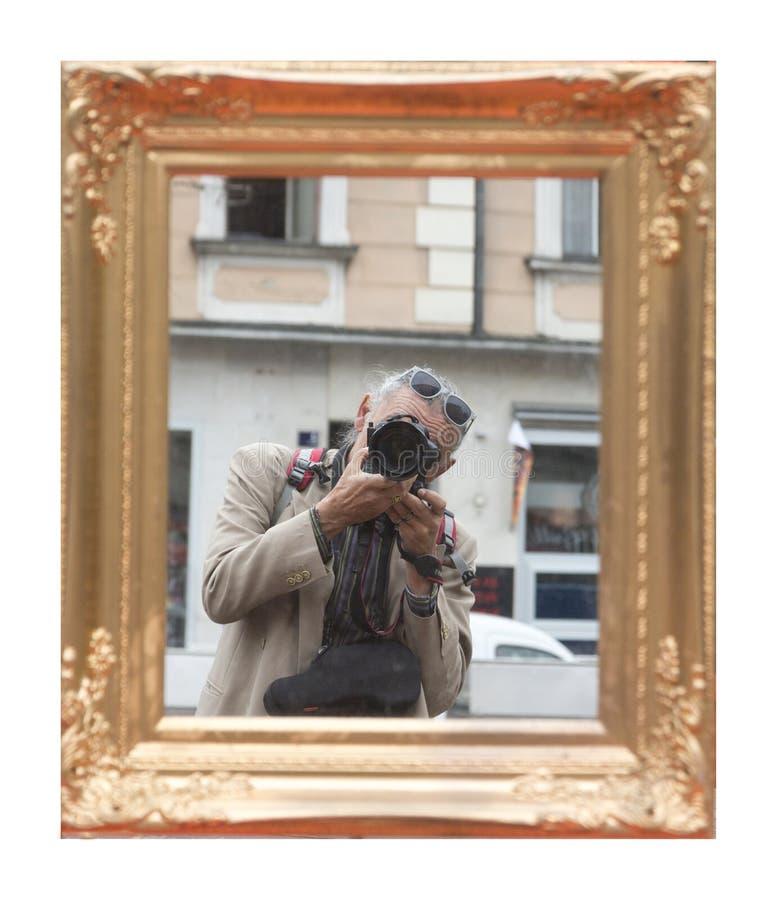 Man taking self portrait stock image