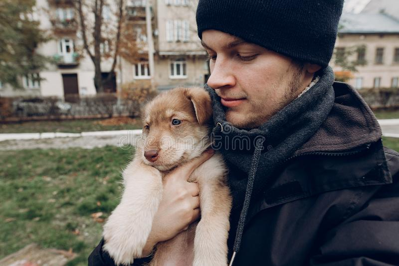 Man taking selfie with adorable brown puppy with amazing blue eyes on background of autumn park. space for text. faithful friend. Concept stock photos