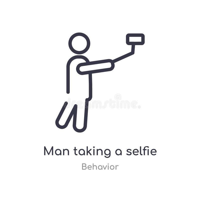 man taking a selfie outline icon. isolated line vector illustration from behavior collection. editable thin stroke man taking a stock illustration