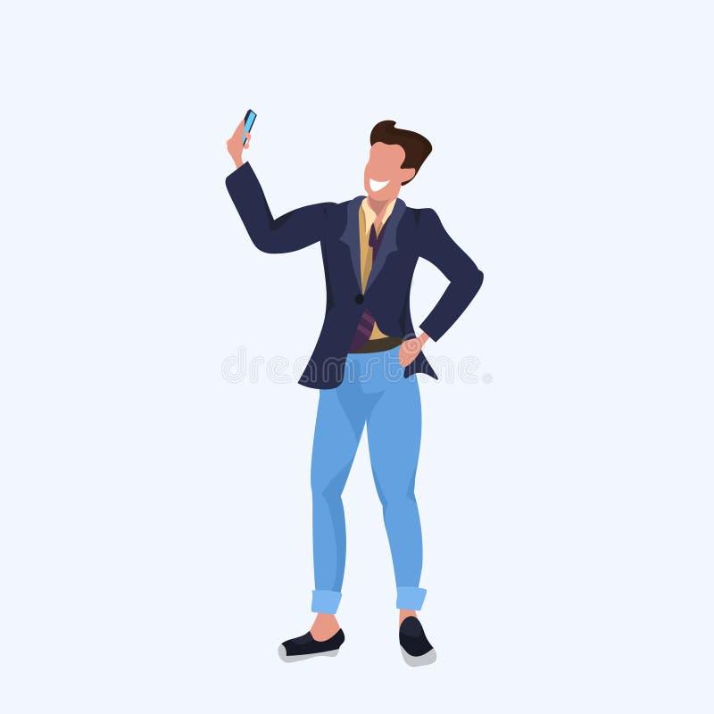 Man taking selfie photo on smartphone camera casual businessman male cartoon character posing flat full length. Vector illustration vector illustration
