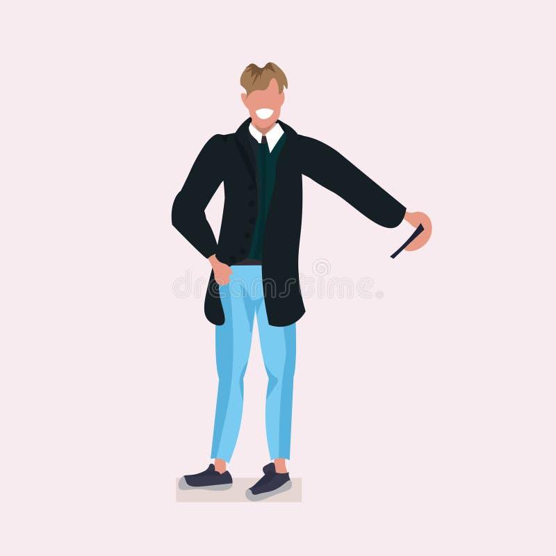 Man taking selfie photo on smartphone camera casual businessman wearing coat male cartoon character posing flat full. Length vector illustration stock illustration