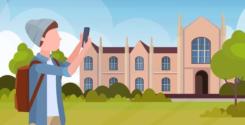 Man taking selfie photo on smartphone camera casual male cartoon character in hat with backpack over university building. Exterior flat portrait horizontal vector illustration