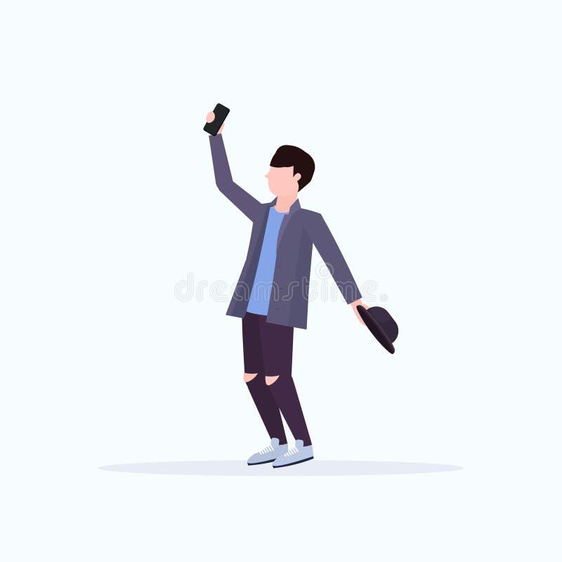 Man taking selfie photo on smartphone camera casual male cartoon character holding hat posing white background flat full. Length vector illustration stock illustration