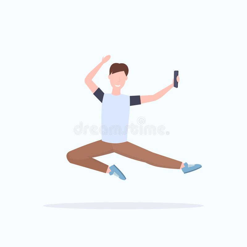 Man taking selfie photo on smartphone camera casual male cartoon character jumping posing white background flat full. Length vector illustration vector illustration