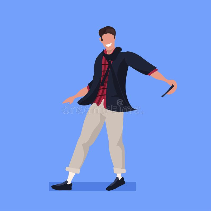 Man taking selfie photo on smartphone camera casual male cartoon character posing blue background flat full length. Vector illustration royalty free illustration